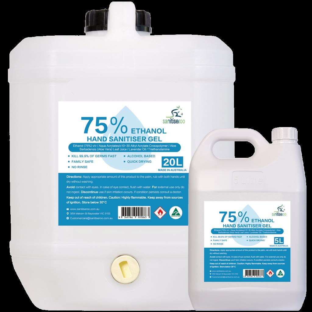 75% alcohol based hand sanitiser gel